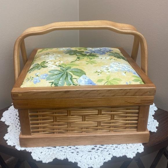Vintage Woven Wood Sewing Trinket Box